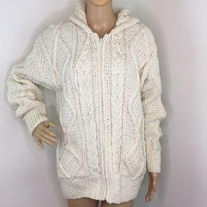Vintage Cream Chunky Zipper Hoodie Sweater
